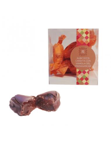 Confezione di praline albicocca candita e vaniglia del Madagascar con pralina spezzata